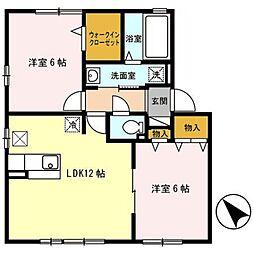 埼玉県熊谷市久下の賃貸アパートの間取り