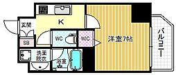 ファーストステージ京町堀レジデンス 14階1Kの間取り