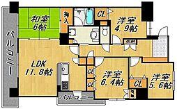唐人町パークハウス[5階]の間取り