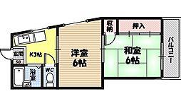 三井ビル 4階2Kの間取り