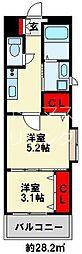 ギャラン竪町Neo 12階2Kの間取り