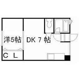 JR学園都市線 新川駅 徒歩1分の賃貸アパート 2階1DKの間取り