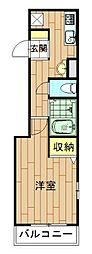 神奈川県川崎市中原区上小田中6丁目の賃貸アパートの間取り