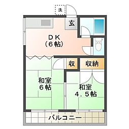 第二立石荘[2階]の間取り