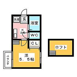 プースヴェール[1階]の間取り