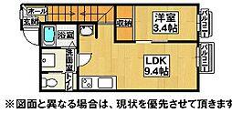 福岡県北九州市小倉北区白銀1丁目の賃貸アパートの間取り