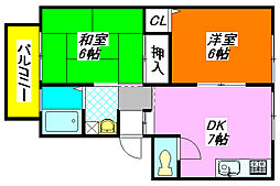 サンビレッジ・ラポールD棟 201号室[2階]の間取り