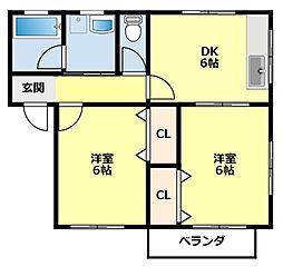 愛知県豊田市小川町3丁目の賃貸アパートの間取り
