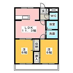 パピヨンプレイス[2階]の間取り