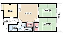セントラルアサノA・B棟[A401号室]の間取り