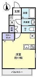 ルーツ七番館 1階ワンルームの間取り