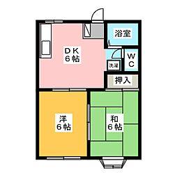 ガーデンサハシA[1階]の間取り