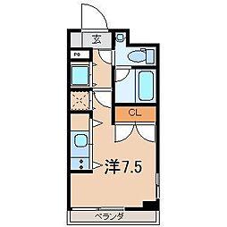 ノヴェルマンション443 4階ワンルームの間取り