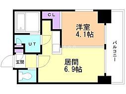 小泉マンション メム19 8階1LDKの間取り