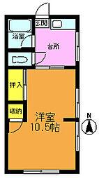コーポ蓮見[1階]の間取り