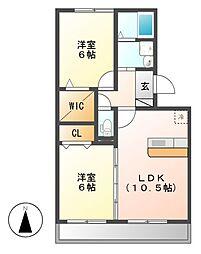 プライムガーデンA[2階]の間取り