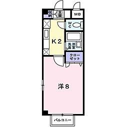福岡県福岡市博多区井相田3丁目の賃貸アパートの間取り