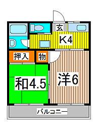 サンケイハイツII[2階]の間取り
