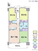 3LDK・専有面積65.76平米・バルコニー面積11.81平米