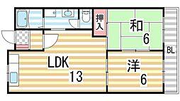 中野ハイツ[303号室]の間取り