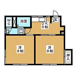 片岡ハイツE[1階]の間取り
