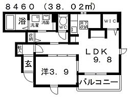 ハイツ桂V[102号室号室]の間取り