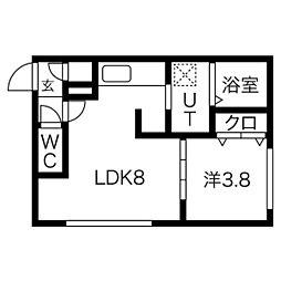 FORESTA平岸(フォレスタ) 3階1LDKの間取り