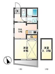 小川の荘[3階]の間取り