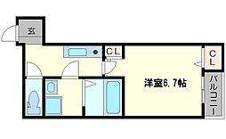 セイム大桐 3階1Kの間取り