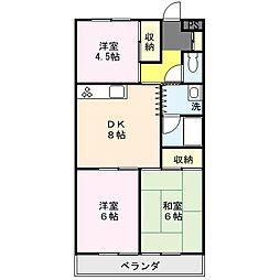 大成第2マンション[407号室]の間取り