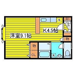 北海道札幌市東区北十四条東10丁目の賃貸アパートの間取り