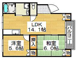 メロディーハイム浅香[1階]の間取り