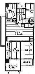 神奈川県横浜市南区日枝町5丁目の賃貸マンションの間取り
