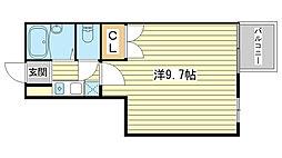 キャトルセゾン福崎[206号室]の間取り