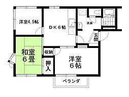 サンハイツヤジマC棟 2階3DKの間取り
