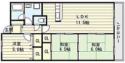 エスポワール巽東[3階]の間取り