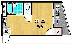 シャンテー甲斐田[2階]の間取り