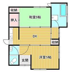 東武東上線 東武練馬駅 徒歩12分 2DKの間取り