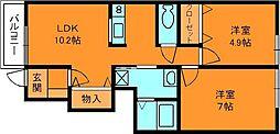奈良県北葛城郡広陵町大字三吉の賃貸アパートの間取り