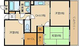 ジヤン・ピユール 2番館 4階3DKの間取り