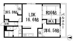兵庫県宝塚市川面3丁目の賃貸マンションの間取り