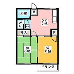 メゾン浅野B[2階]の間取り