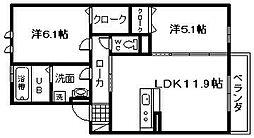 JIN/輝 B棟[1階]の間取り