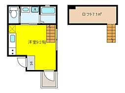 JR東海道・山陽本線 摂津本山駅 徒歩5分の賃貸マンション 3階1SKの間取り