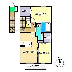 グランヴァリB棟[2階]の間取り