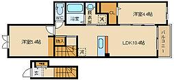 大阪府八尾市南本町6丁目の賃貸アパートの間取り