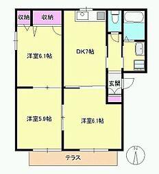 東京都八王子市西片倉3丁目の賃貸アパートの間取り