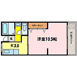 滋賀県大津市三井寺町の賃貸マンションの間取り