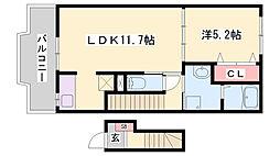 JR播但線 福崎駅 徒歩3分の賃貸アパート 2階1LDKの間取り