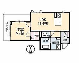 仮)ベレオ古川南 2階1LDKの間取り